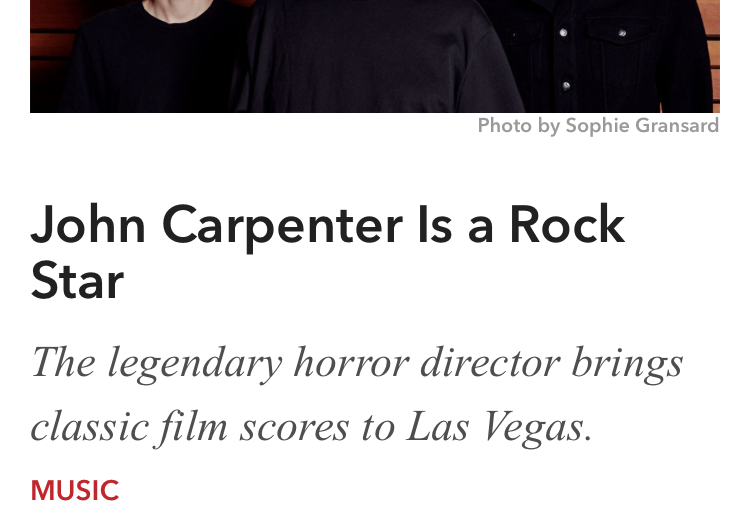 John Carpenter is a Rock Star written by Jason R Latham for Vegas Seven