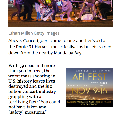 In this October 4 story for The Hollywood Reporter, Jason R. Latham and Ryan Parker examine Las Vegas in the aftermath of the October 2 attack on the Route 91 Harvest music festival